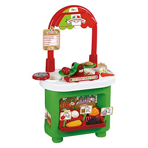 Uno Toys Banco Vendita Italian Market Mercatino Frutta Verdura Giocattolo + 25 Accessori Supermarket Supermercato per Bambini