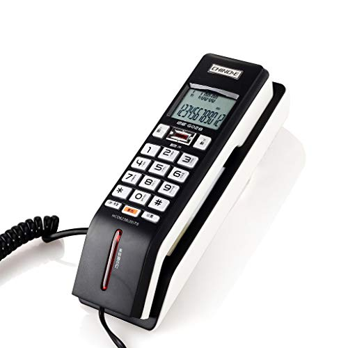 AODXI Identificador de Llamadas Teléfono Pared Doble Uso Pequeño Llamada extendida Parpadeante Ringtones Office Home Hotel Restaurante Fijo Línea Fija Classic Black