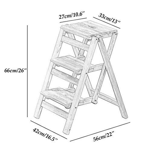QFQ Facile et multifonction Étape pliante pratique Tabouret, Maison utilitaire Tabouret Chaise pliante Escalier en bois massif de pin Grimpez Tabouret escabeaux Chaise Etagère à usages multiples éche