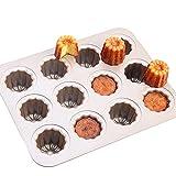CANDeal Moule à pâtisserie en Carbone Lourd pour 12 Cannelés/Mini Muffins/Cupcakes