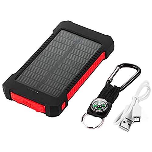 CareMont Cargador Solar 2000MAh, Batería Solar de Carga Rápida Cargador Movil Portatil con 2 Puertos USB Rojo