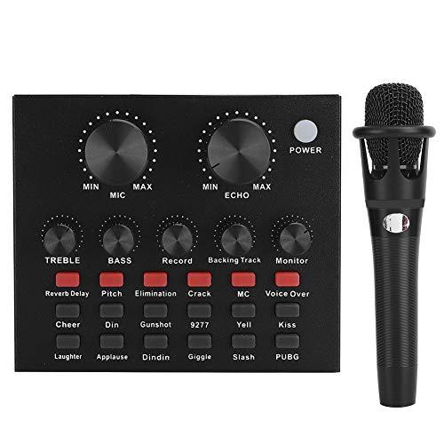 Caredy Live-Zubehör für Computerspiele, 18 Soundeffekte 112 Live-Soundkarte für elektrische Sounds, Unterstützung für die Anpassung der Hallgröße für Mobiltelefone und Computer