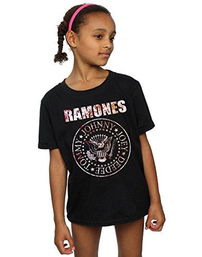 Ramones niñas Flower Rose Camiseta 7-8 Years Negro