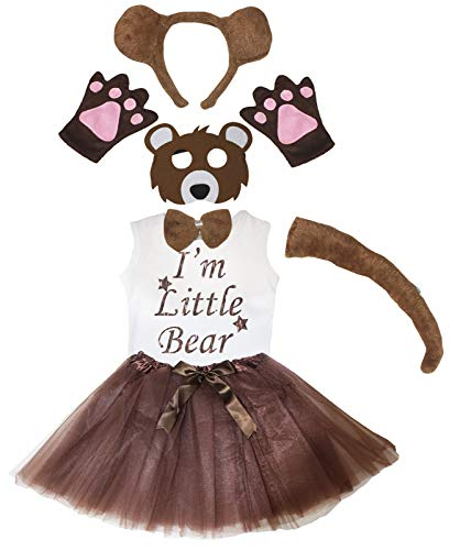 Petitebelle Mscara para la cabeza con tut de la camiseta de I'm Little Bear 7 piezas disfraz de nia 1-4 aos (marrn (cola larga), 3-4 aos)
