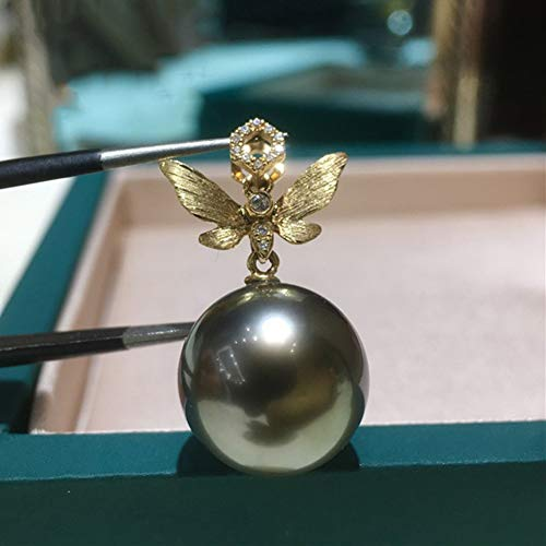 DX.PZ Femmes Perle Colliers, Or 18 Carats La Saint-Valentin Bijoux Noir Tahiti Pearl Papillon Pendentif, Élégant Cadeau pour Femme Maman Fille