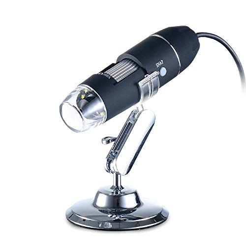Leeofty Portable Handheld USB Digital Microscope 1000x Magnification Camera 8 LED with Metal Stand Compatible with Windows XP/Vista/Win 7 8 10