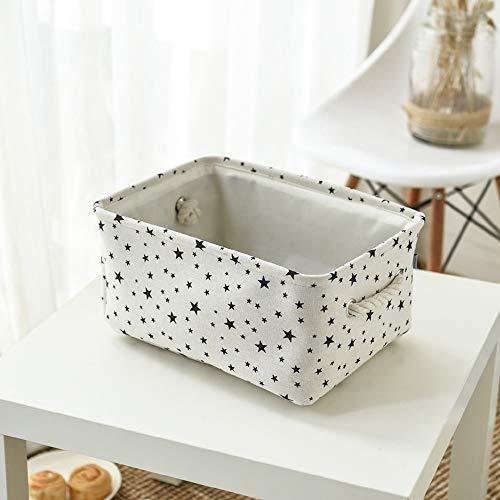Cesta de almacenamiento de tela de algodón y lino, con caja de almacenamiento plegable, cesta para juguetes de tela con asa, adecuada para ropa, cosméticos (F, 40 x 30 x 21 cm)