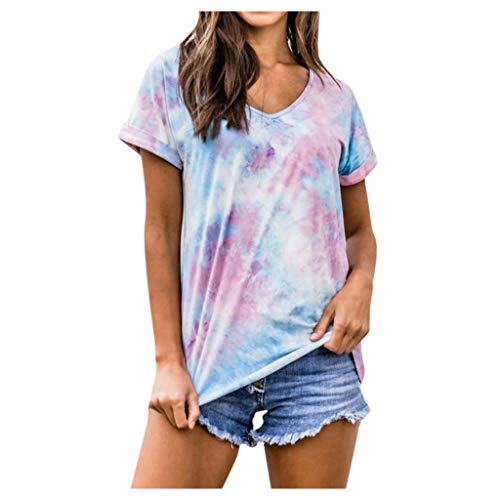 MRULIC Damen Oberteil Kurzarm Rundhals T-Shirt Tunika Gradient Pullover LäSsige Lose Sommer Tops Basic Tops Fasching Karneval Party(Hellblau,2XL)