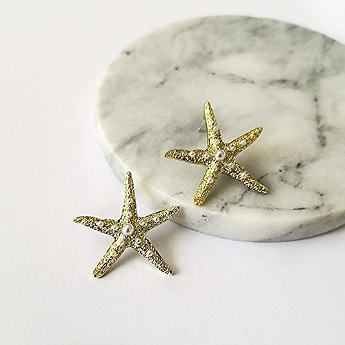 SALAN Pendientes De Oro con Textura Irregular Pendientes De Perlas Geométricas Blancas Pendientes Asimétricos De Estrella De Mar para Mujer