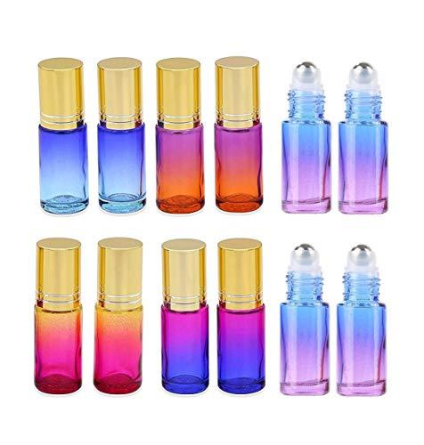 VADOO Farbverlauf Roll on Flaschen Dickes Glas Leer nachfüllbar Duft Parfüm ätherisches Öl Glas Roller Flaschen Metall Roller Ball Flasche Container für Home Travel Verwendung 5ml 12 Packs
