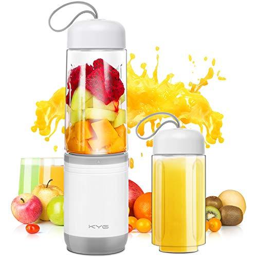 KYG Mini Blender 2 en 1 Blender Smoothie et Milk-shake Mixeur Portable sans BPA avec 350ml Bouteille pour Sport et Voyage, 4 Lames en Acier Inoxydable