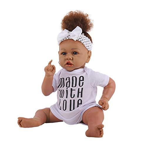 aniceday 23 Zoll Baby Play Doll Waschbare African Girl Doll Realistische Neugeborene Puppe Silikon Spielzeugpuppen Lebensechte Baby Play Puppen Mit Afro Haar Lebensechtes Modespielzeug Für Kinder