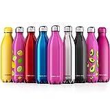 Proworks Bottiglia Acqua in Acciaio Inox, Senza BPA Vuoto Isolato Borraccia Termica in Metallo per Bevande Calde per 12 Ore & Fredde 24 Ore, Borraccia per Sport, Lavoro e Palestra - 1 Litre - Rosa