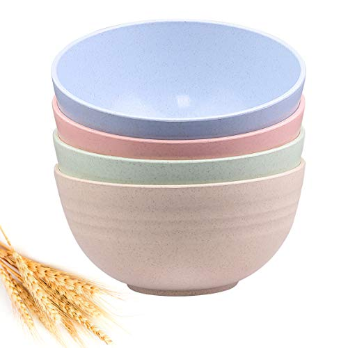 Unbreakable Cereal Bowls - 24 OZ Wheat Straw Fiber Lightweight Bowl Sets 4 - Dishwasher & Microwave Safe - for ,Rice,Soup Bowls