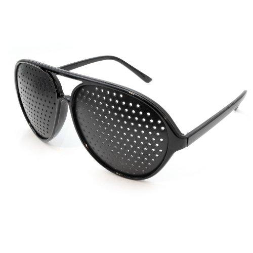 Raster-Brille/Loch-Brille für Augen-Training und Entspannung, Gitter-Brille mit faltbaren Bügeln, Form C