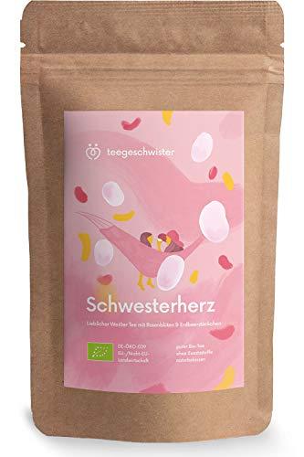 teegeschwister® | Schwesterherz | Weißer BIO-Tee mit Rosenblüten und Erdbeerstücken | Geschenk-Idee für deine Schwester oder beste Freundin