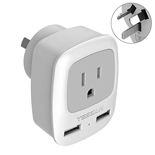 Australia China New Zealand Power Plug Adapter, TESSAN AU Travel Adaptor 3 in 1 US Grounded Outlet with 2 USB Ports for USA to Australian New Zealand Fiji Argentina (Type I)
