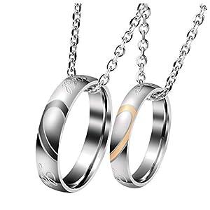 Zysta Gravur 2PCS Pärchen Kette- Edelstahl Damen Herren Ringe Anhänger Paar Halskette mit Gravur für Paare Liebhaber