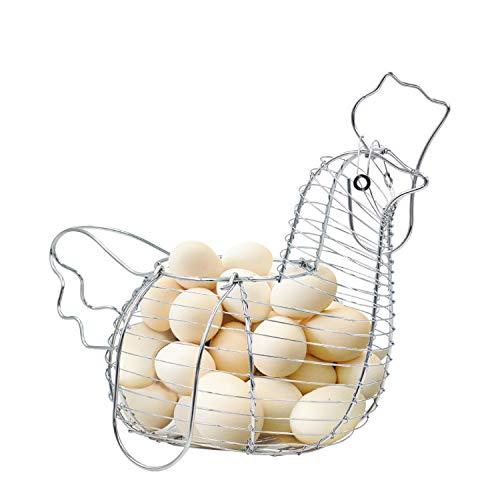 Home Decor Chicken Egg Basket Holder Metal Wire Hen Shaped Kitchen Storage Rack