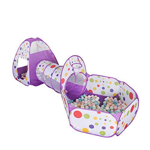 Queiting Three-In-One Children's Play Tent Pop-Up Foldable Washable Pop-Up Can Be Used For Baby Games Toddler Crawling Tunnel Ball Pool Boys And Girls Indoor And Outdoor Use Purple