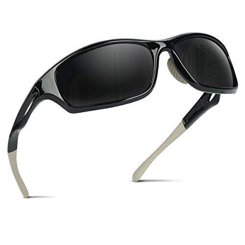 Occffy Polarisierte Sportbrille Sonnenbrille Fahrradbrille mit UV400 Schutz für Herren Autofahren Laufen Radfahren Angeln Golf TR90