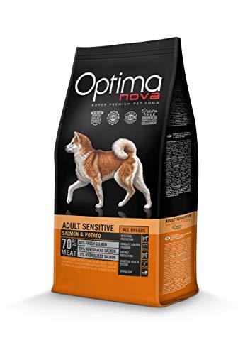 Optima Nova - Pienso para perros adultos pequeños, medianos y grandes grain free sensitive salmón y patata