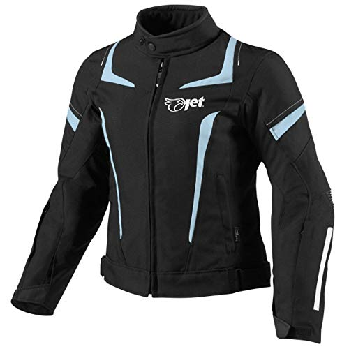 JET Chaqueta Moto Mujer Textil Impermeable con Armadura (S (ES 36-38), Azul)