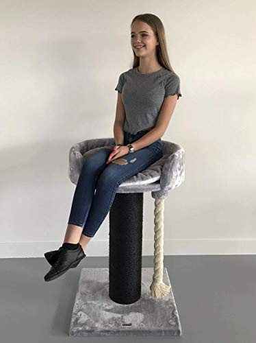 Cat Tree for Large Cats – Queensplace XXL Blackline Light Grey – 40 inch 40 lbs 8 inch Ø poles – Tested up to 88 lbs!! - Total size 40x24x24 inch – Cat Scratcher scratching post activity center Cat Tr