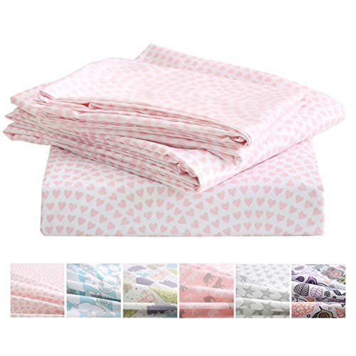 Vonty Kids Bed Sheets Pink Heart Twin Sheet Set Soft & Cozy Brushed Microfiber Sheets for Girls (1 Fitted Sheet + 1 Flat Sheet + 1 Pillowcase)