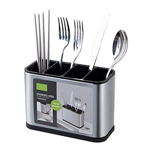Vecksoy - Soportes de almacenamiento de acero inoxidable de gran capacidad para cubiertos de mesa, tenedores, baquetas