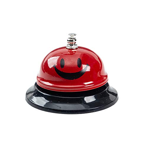ASIAN HOME Call Bell, 3.35 Inch Diameter, Metal Bell, Red Smiley Face, Desk Bell Service Bell for Hotels, Schools, Restaurants, Reception Areas, Hospitals, Customer Service, RED (1 Bell)