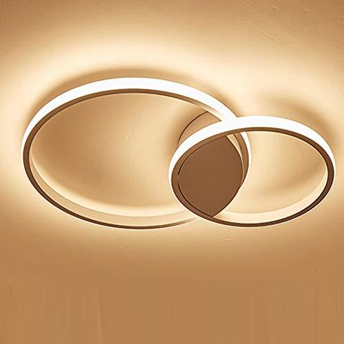 Ring Design Decken Lampe Runde LED Aluminium Deckenleuchte Minimalistisch Fernbedienung Dimmbar Deckenbeleuchtung 3000-6000K Acryl Schirm Esszimmerleuchte Wohnzimmer-Lampe Schlafzimmer (weiss, 2-ring)
