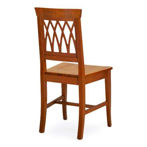Sedia in Legno Treccia con Seduta in Legno massello Set da 2 (Ciliegio)