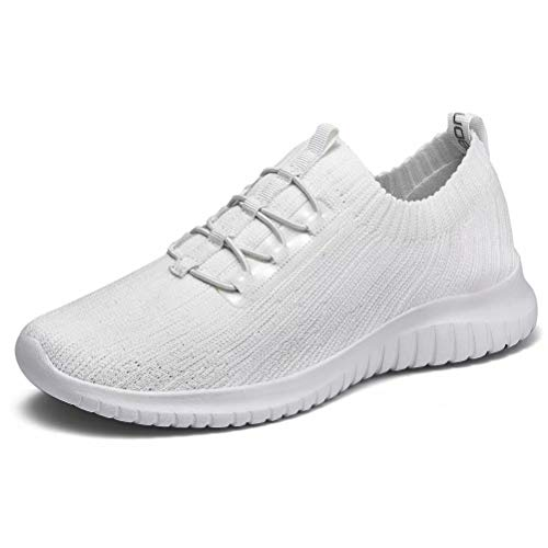 konhill Women's Comfortable Walking Shoes - Tennis Athletic Casual Slip on Sneakers 5 US All White,35