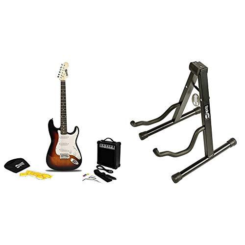RockJam RJEG02-SK-SB Full Size Electric Guitar Superkit with Guitar Amplifier Guitar Strings Guitar Strap Sunburst & RJGS01 Aframe Guitar Stand for all Guitars Acoustic Guitar Stand