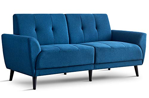 Ivinta Living Room Couch Sofa Linen Fabric Tufted Mid-Century Modern Bench Loveseat Sofa, 71' Small Sofa (Royal Blue)