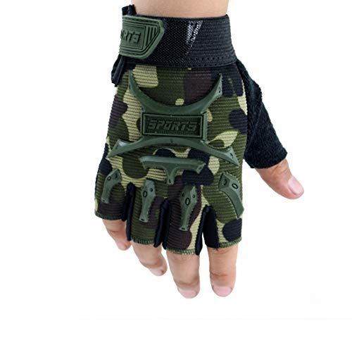 4-9 Y Kids Half Finger Gloves Boys Girls Anti-slip Tactical Cycling Mittens Long Keeper (Camo, M)