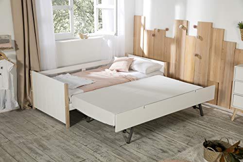 ambiato Tagesbett Madi Kinderbett + Gästebett Kojenbett Landhaus Weiß + Pinie massiv Ausziehbett