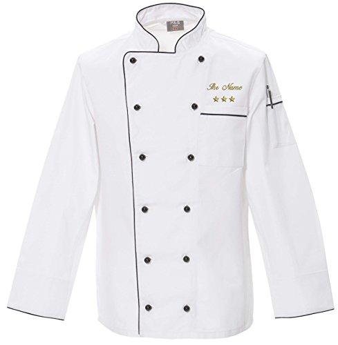 Nashville print factory Kochjacke Bäckerjacke weiß mit schwarzer Paspel mit Goldener Stickerei Motiv | Name | Text bestick (M, 3 Sterne + Name)