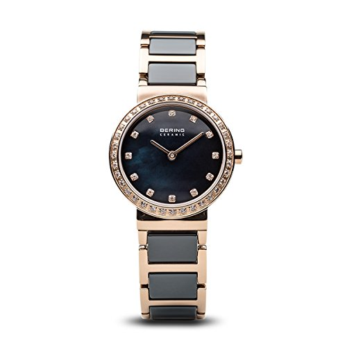 BERING Damen Analog Quarz Ceramic Collection Armbanduhr mit Edelstahl/Keramik Armband und Saphirglas 10729-767