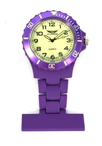 Prince London Trendz Prince NY London Taschenuhr für Krankenschwestern, gummiert, drehbar, Unisex, inklusive Mont-Cherry-3D-Lesezeichen