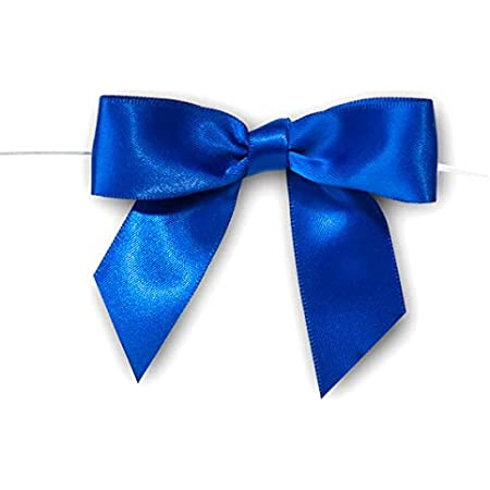 SAB35BLU Weststone 50pcs 3 12 Blue Satin Pre-Tied Bows or Self-Adhesive Ribbon Bows