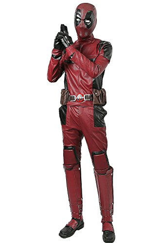 DP Wade Wilson Costume Updated Cosplay Full Suit Face Mask Belt Custom Made Xcoser M