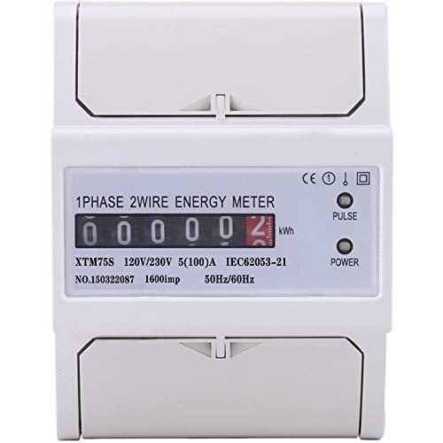 XTM75S - Medidor de energía, contador eléctrico de energía digital, LCD digital monofásico 2 hilos KWh, contador eléctrico para guía DIN 230 V 5 (100) A