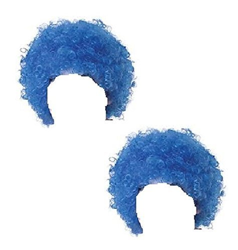 2x Adult Blue Curly Wig Thing 1 and 2 Cat in the Hat Fancy Dress by Blue Planet Online