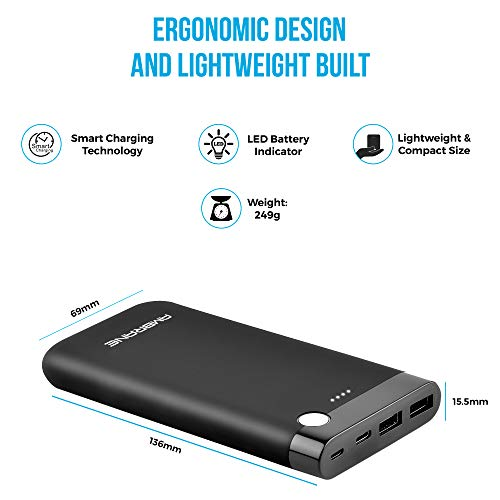 Ambrane 10000 mAH Lithium Polymer Power Bank with Micro/Type C Input for Android & iPhone (PP-11, Black) 3