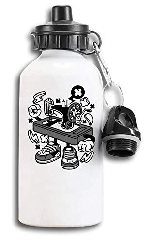 Iprints Cartoon Stijl Oude Mechanische Naaimachine Toeristische Water Fles