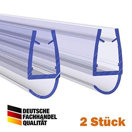 VON ADELBERG Duschdichtung Wasserabweiser Gerade PVC Ersatzdichtung für Dusche Typ: VA077 2 Stück - Länge: 40 bis 200 cm - Glasstärke: 4, 6, 8, 10, 12 mm, Dichtung Länge:190 cm, Glasstärke:6 mm