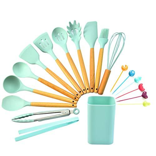ORHA 19 utensilios de cocina de silicona, mango de madera, resistente al calor, soporte de plástico antiadherente, cepillo de pasta, tenedor, batidor de brocha, espátula, cucharón ranurado (verde)