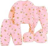 KIDZVILLA Newborn Baby Boy\s and Girl\s Cotton Fleece/Falalen Suit Cartoon Printing Winter Wear 5 Pieces Clothing Sets (Peach)